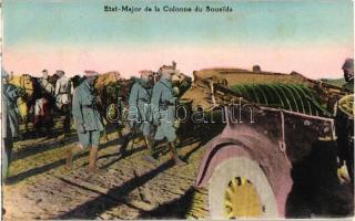 Etat-Major de la Colonne du Soueida / Lebanese military postcard, automobile, soldiers, Libanoni katonák menetoszlopa