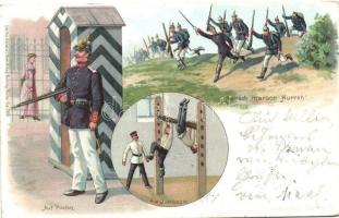 1898 Scenes from the German soldiers life, Heinr. & Aug. Brunning Soldaten Serie IV., litho, 1898 A német katona élete, Heinr. & Aug. Brunning Soldaten Serie IV., litho