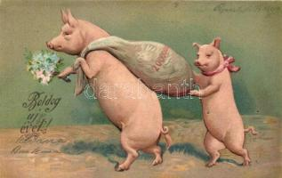 New Year, pigs with money bag, Emb. litho