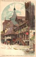 1900 Paris, Exposition Universelle, Village Suisse, La Poste, Maison de Wald de Zurich / Swiss village, post office, decorated, litho