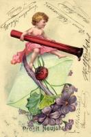 New Year, child, letter, floral, P.F.B. B. Serie 3315. Emb. litho