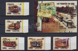 Old trams margin set + block, Régi villamosok ívszéli sor + blokk