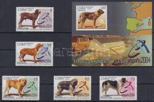 Stamp Exhibition; Dogs set + block, Bélyegkiállítás; Kutya sor + blokk