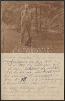 1925 Kováts Ferenc (1873-1956) történész, közgazdász, gazdaságtörténész, botanikus, akadémiai és egyetemi tanár, dékán, az MTA tagja lapként megírt fényképe Heller Farkas részére,