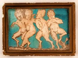 Pikszai Rudolf (1903-1982): Puttó a faunok szorításában. Festett gipsz, apró hibákkal, jelzett, 11×16 cm