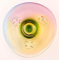 Muránói kínáló tál, anyagában színezett, jelzés nélkül, nagyon apró lepattanással, d:30 cm, m:7 cm