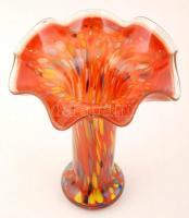 Muranói fújt díszváza, több rétegű, jelzés nélkül, hibátlan, m:27 cm, d:22 cm