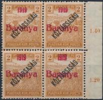 Baranya I. 1919 Arató/Köztársaság 2f próbanyomat piros felülnyomással ívszéli négyestömbben, 2 érték antikva számokkal (540.000) / Mi IV. blocks of 4, 2 stamps with antiqua numbers. Signed: Bodor (betapadás / gum disturbance)