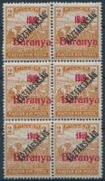 Baranya I. 1919 Arató/Köztársaság 2f próbanyomat piros felülnyomással hatostömbben, 2 érték antikva számokkal, 1 érték vékony 1-es számjeggyel (660.000) / Mi IV. blocks of 6, 3 stamps with plate varieties. Signed: Bodor