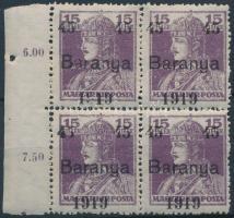 Baranya I. 1919 Károly 45f/15f próbanyomat fekete felülnyomással ívszéli négyestömbben (100.000) / Mi VII. block of 4. Signed: Bodor (elvált fogak / aparted perfs.)