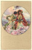 Italian art postcard, lady with clown, Degami 1016. s: T. Corbella, Olasz művészeti képeslap, hölgy bohóccal, Degami 1016. s: T. Corbella