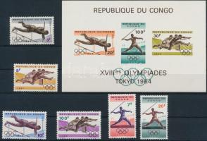 1964 Nyári olimpia sor Mi 169-174 + blokk 5 (sarka törött / folded)