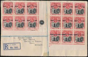 POW aid block of 6 and 9 on registered cover front, Hadi segély hatos és kilences tömb ajánlott levél előlapon