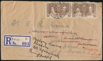 1937 Ajánlott levél Koronázás bélyegekkel Aranypartra, továbbküldve Angliába majd ott ismét tovább irányítva