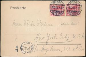 1903 Drezdai képeslap 2 x 10Pf bérmentesítéssel New Yorkba