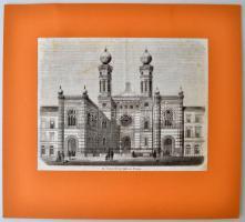 Vasárnapi Újság: Az izraeliták új imaháza Pesten 1857, rotációs fametszet