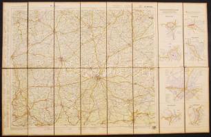 cca 1930 München és környéke vászon autóstérkép kiváló állapotban / München canvas automobile map in nice condition