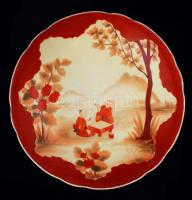 Keleti motívumos porcelán kínáló, kézzel festett, jelzés nélkül, apró kopásnyomokkal, d: 23 cm