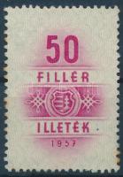 1957 Illetékbélyeg 50f Kossuth címerrel, ritka! (350.000)