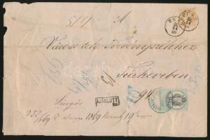 1869 Ajánlott levél 15kr PEST - Túrkeve, a borítékon 15kr okmánybélyeg