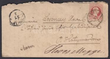 ~1868 5kr Díjjegyes boríték TURKEVI - KISUJSZALLÁS - ALMÁS - KATYMAR - kék T-ABAD-SZALOK (Gudlin 500p)