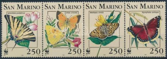 WWF: Butterfly set in stripe of 4 + 4 FDC, WWF: Pillangó sor négyescsíkban + 4 FDC