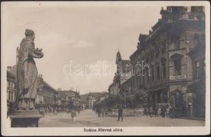 Kassa, Kosice; Fő utca, gyógyszertár, fogorvosok / Hlavná ulica / Main street, shops, dentist, pharmacy