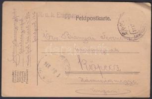 1918 Tábori posta levelezőlap K.u.k. Etappenstationskommando