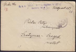 1918 Tábori posta levél K.u.k. Regiment Nr.10 Batterie Nr.2 + FP 283