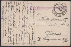 ~1919 Tábori posta képeslap K.u.K. Infanterieregiment + PRAHA 8