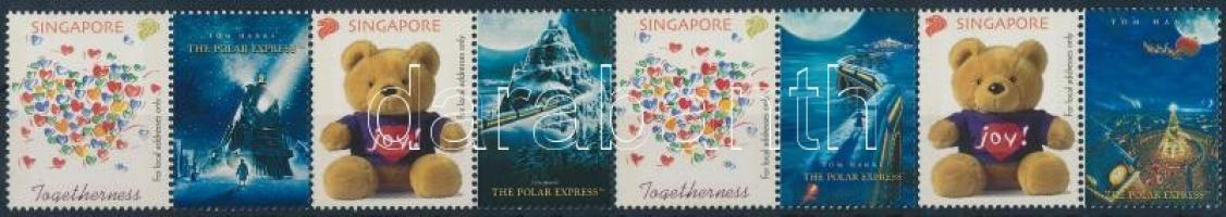 Greeting Stamp coupun stripe of 4, Üdvözlőbélyeg szelvényes 4-es csík