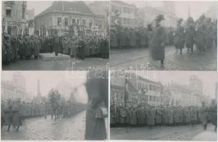 1938. november 11. Horthy Miklós bevonulása Kassára, dr. Bónis László rendőr hadnagy 4 db korabeli felvételéről készített későbbi nagyítás, 9x14 cm