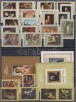 1969-1977 Paintings 7 sets + 3 blocks, 1969-1977 7 db Festmény sor és 3 blokk 3 stecklapon