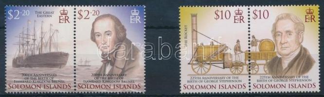 Feltalálók sor 4 értéke párban, Inventors 4 stamps in pair