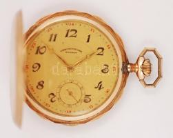 Chronometre Tegra duplafedelű, 14 karátos arany zsebóra. Jelzett tokkal, működő szerkezettel, hibátlan számlappal, tokon hátoldalt kis horpadással. br: 75,7 g / Chronometre Tegra double lid gold pocket watch with working mechanics in nice condition. gr: 75,7 g 14 C gold