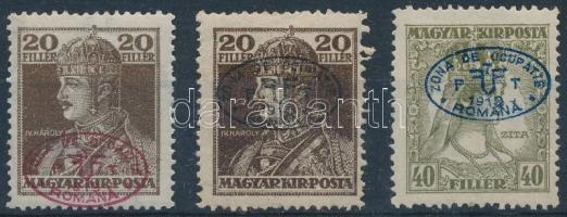Debrecen I. 1919 2 klf Károly 20f + Zita 40f Bodor vizsgálójellel (13.000) (20f foghiány és papírelvékonyodás / missing perf, thin paper)