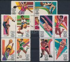 1983 Nyári Olimpia, Los Angeles (IV.) 3 sor 4-es tömbökben Mi 1636-1639, 1644-1647, 1690-1693