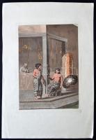 cca 1810 D.K. Bonatti: Cigarettázó ifjú. Színes litográfia, papír, 22×16 cm