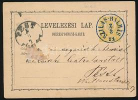 1871 2kr díjjegyes levelezőlap SZILAS-BALHÁS kék / blue