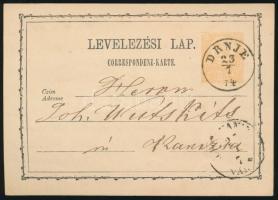 1874 2kr díjjegyes levelezőlap DRNJE
