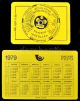 2 különleges naptár: Magyar Posta: Műanyag kártyanaptár, Mozi: mechanikus öröknaptár