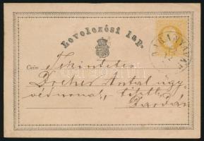 1870 2kr díjjegyes levelezőlap BARANYAVÁR