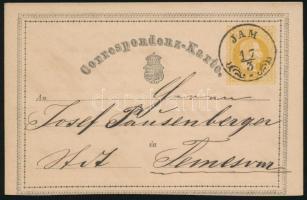 1871 2kr díjjegyes levelezőlap JAM