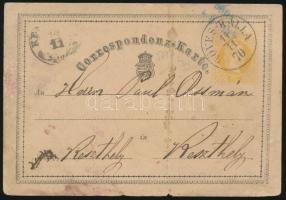 1870 2kr díjjegyes levelezőlap KÖVES-KÁLLA
