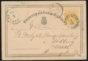 1870 2kr díjjegyes levelezőlap KESZTHELY