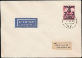 Generalgouvernement 1940 Mi 28 Hamburgba címzett légi levélen
