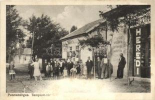 Pusztamérges, Templom tér, Herédi Károly üzlete és saját kiadása