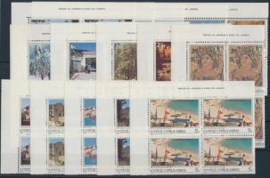 1985 Turizmus sor ívsarki négyes tömbökben Mi 626-640