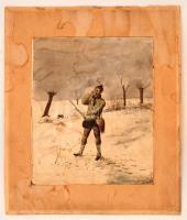 Bátori jelzéssel: Nyúltól megrettent vadász. Akvarell, papír, foltos, 22×18 cm