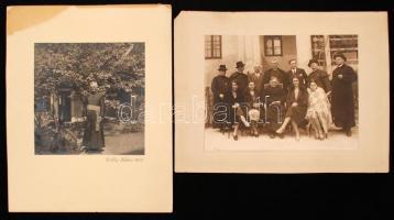 1930-38 Egyházi és világi társaság, köztük Káplán tábori lelkész is,fotók kartonra kasírozva, 2db, 17x23cm és 16x17cm